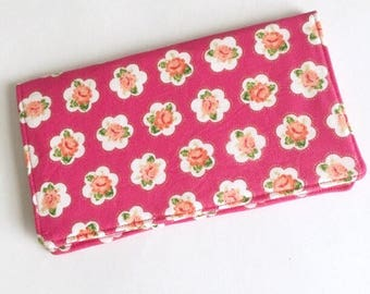 Dark Pink Gold Floral Checkbook Cover