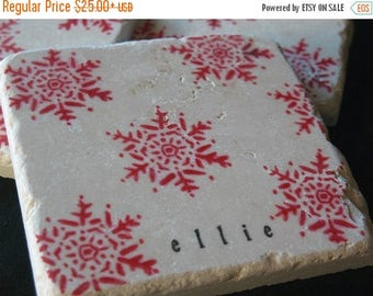 XMASINJULYSale Personalized Red Snowflake Tile Coasters -Winter Home Decor - Set of 4
