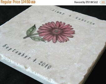 XMASINJULYSale Personalized Pink Gerbera Daisy Trivet - Garden Kitchen Decor