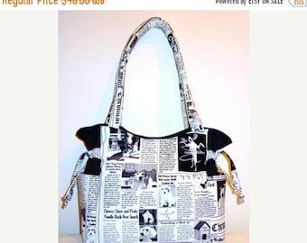 SALE & FREE SHIPPING- Dogs Newspaper Chronicals - Handbag, Purse, Tote, Shoulder Bag, Outside Pockets