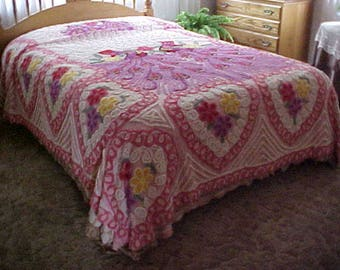 "Lovely Peacock chenille bedspread size 90X96""  fits double bed or queen with bed skirt"