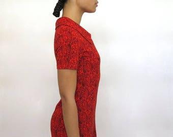 40% SUMMER SALE The Red Geometric Print Dress