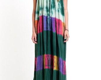 40% OFF The Green Multi Color Tie Dye Dress