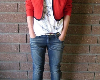 "40% OFF Red and Black Cropped ""MJ"" Blazer Jacket"