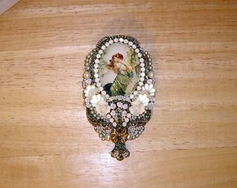 Victorian Angel Pin Brooch Pendant Antique Brass OX By C Erbsland OOAK Signed