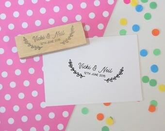 Laurel Couple Stamp - favor stamp - personalized - custom wedding stamp - invitation stamp - RSVP