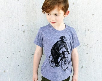 SUMMER SALE Chimpanzee on a Bicycle- Kids T Shirt, Children Tee, Tri Blend Tee, Handmade graphic tee, sizes 2-12