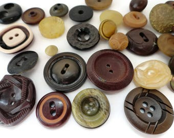 36 Vintage Buttons in Autumn Colors - Antique Celluloid Vegetable Ivory Plastic for Sewing Knitting Jewelry Supplies Beads