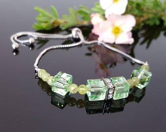 Peridot bracelet  August birthstone bracelet bolo Adjustable Bracelet Peridot jewelry August birthday gift for women Gemstone bracelet Green