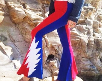 Grateful Dead Bell Bottoms // Grateful Dead Pants Steal Your Face Lightning Bolt Hippie Festival Clothing