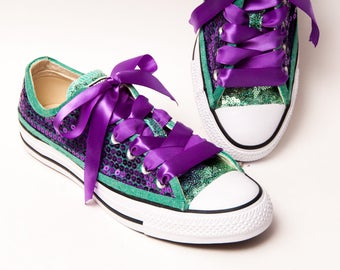 Sequin - Two Tone - Sports Fan Custom Purple Over Mint Green Low Top Sneakers Tennis Shoes with Satin Ribbon Laces