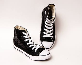 Kids - Youth - Black Sequin Converse Canvas Hi Tops Sneakers Tennis Shoes