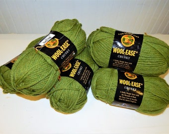 Lion Brand Wool Ease Chunky 6-- 5 oz new Balls Color is Grass 130