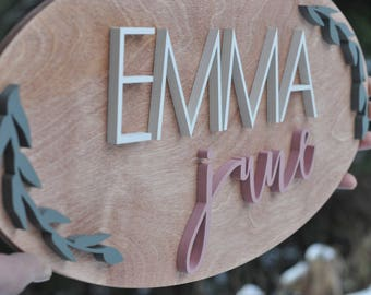 Personalized Wood Sign, Baby Name Plaque, Oval Kids Name Wall Hanging, Baby Gift, Girls Room Decor, Custom Sign,