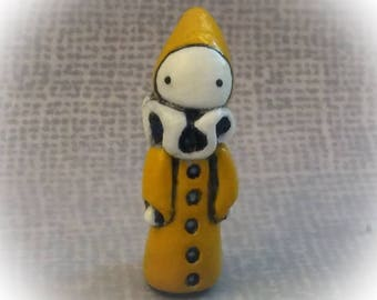 Hand Sculpted Yellow Mini Poppet  - By Lisa Snellings