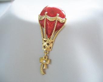 AVON Hot Air Ballon Pin Brooch Lapel Pin Red and Gold Rhinestone Ribbon 1980s