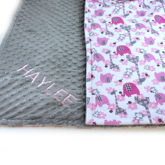 Personalized Minky Baby Blanket For Girl, Animal Baby Blanket Gray Pink Elephant Minky Baby Blanket / Baby Shower Gift / Receiving Blanket