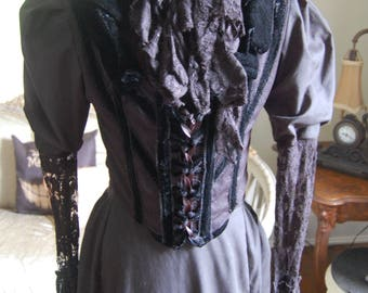Black mourning Victorian inspired Dress skirt and bodice steampunk made for film seven witches