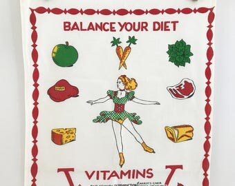 Kitchen Towel Balance Your Diet Vitamins Vitality Food Chart
