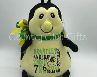 personalized stuffed animal,gift for baby, birth stat Bee,Bee. stuffed Bumblebee, Birth Stat Gift, Baby Shower Gift, girl, boy,photo prop