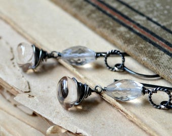 Wire wrapped gemstone earrings, sterling silver, rustic wedding - Silver Spring