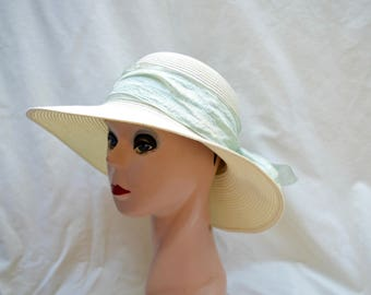 Cream Summer 4 Inch Brim Hat With Ribbon Trim / Downton Abbey Inspired Summer Hat / Cream Sun Hat / Vintage Inspired Straw Hat
