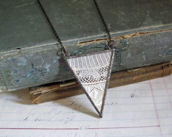 Antique Lace Triangle Pendant Long Necklace One of a Kind Jewelry
