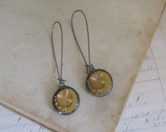 Amber Glass Button Earrings Recycled Jewelry