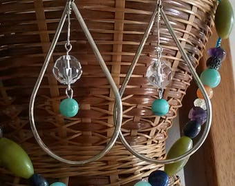 Jade and Crystal Teardrop Hoops
