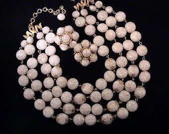 Vintage KRAMER Confetti Lucite Multi Strand Bib Necklace and Earrings Set