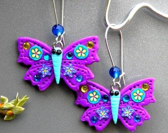 Pretty Butterfly ღ Boucles d'oreilles Uniques polymère violet papillon fait main Tikaille