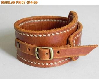 Leather Cuff Leather Wrap Bracelet Leather Bracelet Buckle Clasp Tan Color