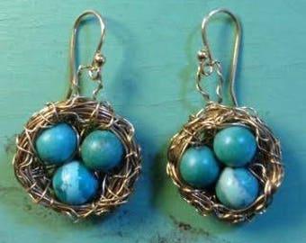 Robins Egg Bird Nest Gold Wire Turquoise Egg Earrings