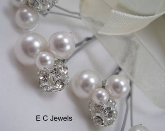 Summer Sale Pearl and Crystal Cluster Hairpins - Pick your Color