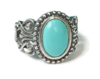 Faux Turquoise Ring Southwestern Style Sterling Silver Avon Size 6 to 6.5 Vintage