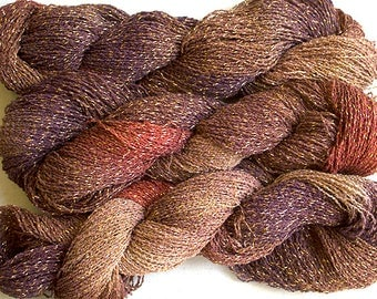 Sparkle, Hand painted fine cotton/metallic yarn, 300 yds - Pheasant