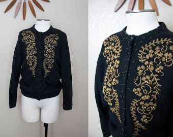 Black and Gold Beaded Cardigan | M