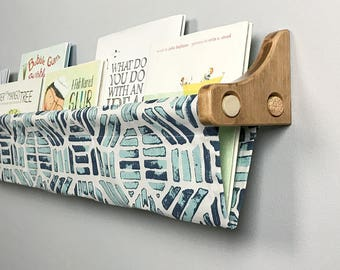 Book Sling and Wooden Brackets - Canal Blue, Navy and White Design Wall Organizer- Choose your size