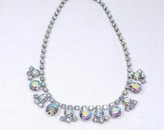Sale 15% Vintage Rhinestone Necklace - Aurora Borealis Rhinestones 1950's Kramer Style