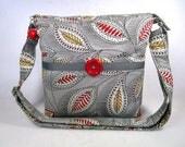 Modern Leaf/Pastel Gray Handmade Fabric Cross Body Purse
