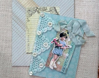vintage crochet lace - blank greeting card - NO060
