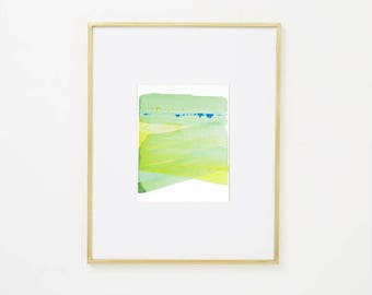 """Abstract Contemporary Original Watercolor Painting, blue, yellow green 8 x 10"""" expressionist art """"Painting 986"""" modern minimal colorful art"""