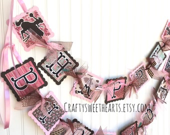 Cowgirl Birthday Banner Shabby Chic Pony Party Sign Horse Decoration