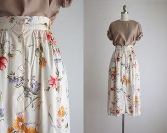 botanical midi skirt