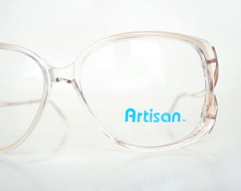 Vintage 1980s Retro Glasses Womens Light Pink Peach Clear Transparent 80s Eighties Deadstock NOS New Old Stock Retro Chic