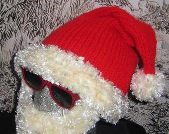 40% OFF SALE Instant Digital File pdf download knitting pattern-MADMONKEYKNITS Bearded Santa Hat Superfast pdf knitting pattern