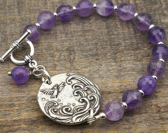 Bird and wave bracelet, purple amethyst beads, silver 8 inches