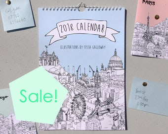 Sale! | City Illustrations Wall Calendar 2018 | 2018 Wall Planner | Month Calendar | 2018 Calendar | 2018 Diary | Calendar