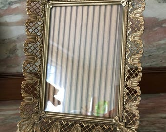 Vintage Picture Frame Gold Filigree Metal 5x7 Hollywood Regency with Antiqued Finish