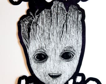 TOO CUTE to DIE Baby Groot adorable Guardians of the Galaxy Vol 2 vinyl sticker (5 inches)